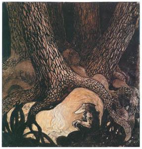 thumbnail John Bauer – The Four Big Trolls and Little Peter Pastureman 1 [from Swedish Folk Tales]