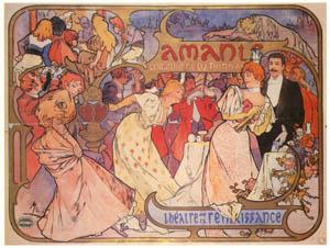 thumbnail Alphonse Mucha – AMANTS. Théâtre de la Renaissance. [from Catalogue de l'Exhibition Paris de la Belle Epoque 1982]