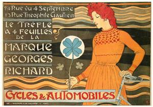 ウジェーヌ・グラッセ – 4つ葉のクローバー印のジョルジュ・リシャールの自転車と自動車 (ベルエポックの巴里展より)のサムネイル画像