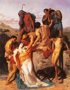 ウィリアム・アドルフ・ブグロー – アラス川の川岸で羊飼いたちに発見されるゼノビア (Bouguereauより)のサムネイル画像