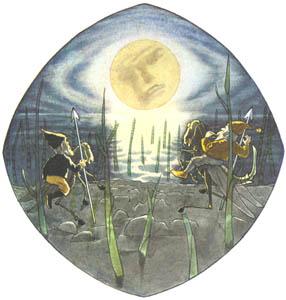 エルンスト・クライドルフ – 満月を眺めるけんかするふたり (くさはらのこびとより)のサムネイル画像