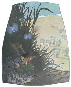 エルンスト・クライドルフ – 月光の下でバッタに乗るくさはらのこびと (くさはらのこびとより)のサムネイル画像