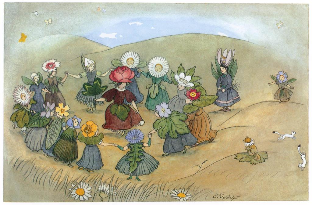 Ernst Kreidolf – Ring around the Rosie [from Flower Fairy Tale]