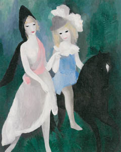 マリー・ローランサン – 黒馬 (散策) (マリー・ローランサンとその時代展 巴里に魅せられた画家たちより)のサムネイル画像