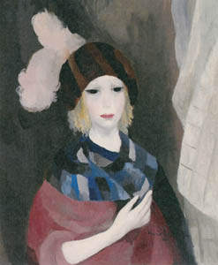 マリー・ローランサン – 羽根飾りの帽子の女 (テイリア) (タニア) (マリー・ローランサンとその時代展 巴里に魅せられた画家たちより)のサムネイル画像