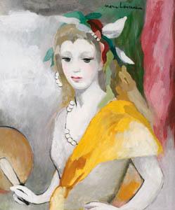 マリー・ローランサン – 扇をもつ若い女 (マリー・ローランサンとその時代展 巴里に魅せられた画家たちより)のサムネイル画像