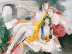 マリー・ローランサン – 三人の若い女 (マリー・ローランサンとその時代展 巴里に魅せられた画家たちより)のサムネイル画像