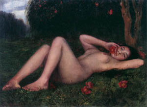 児島虎次郎 – 裸婦と椿 (マリー・ローランサンとその時代展 巴里に魅せられた画家たちより)のサムネイル画像