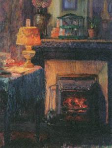 児島虎次郎 – ランプと暖炉 (マリー・ローランサンとその時代展 巴里に魅せられた画家たちより)のサムネイル画像