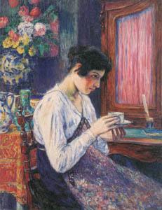 児島虎次郎 – コーヒーを飲む婦人 (マリー・ローランサンとその時代展 巴里に魅せられた画家たちより)のサムネイル画像
