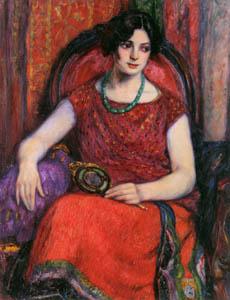 児島虎次郎 – 手鏡を持つ婦人 (マリー・ローランサンとその時代展 巴里に魅せられた画家たちより)のサムネイル画像