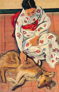 安井曾太郎 – 女と犬 (生誕百年記念 安井曽太郎展より)のサムネイル画像