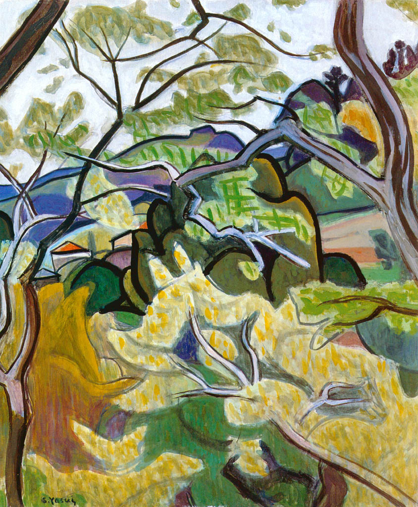 Yasui Sōtarō – Sawtooth Oaks and Camphor Trees [from Sōtarō Yasui: the 100th anniversary of his birth]