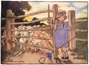 thumbnail Jessie Willcox Smith – Little Bo-Peep has lost her sheep [from Mother Goose]