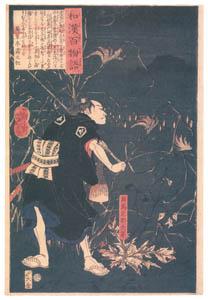 thumbnail Tsukioka Yoshitoshi – Samanosuke Mitsutoshi with fox fires [from One Hundred Ghost Stories of China and Japan]