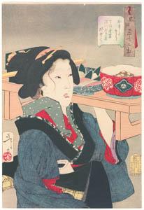 thumbnail Tsukioka Yoshitoshi – Looks Heavy', Mannerisms of a Fukugawa Waitress from the Tenpo Period [from Thirty-two Aspects of Women]