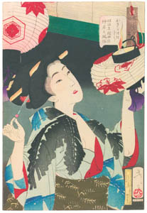 thumbnail Tsukioka Yoshitoshi – Looks Observant', Mannerisms of Kyoto Waitress from Meiji Period [from Thirty-two Aspects of Women]