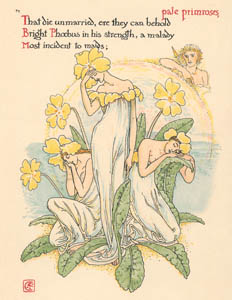 thumbnail Walter Crane – pale primroses, That die unmarried, ere they can behold Bight Phoebus in his strength–a malady Most incident to maids;  (The Winter's Tale) [from Flowers from Shakespeare's Garden]