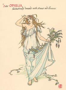 ウォルター・クレイン – オフィーリア (ハムレット) (シェイクスピアの花園より)のサムネイル画像
