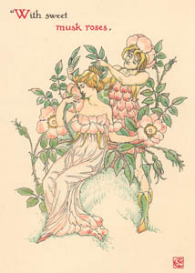thumbnail Walter Crane – With sweet musk-roses,  (A Midsummer Night's Dream) [from Flowers from Shakespeare's Garden]