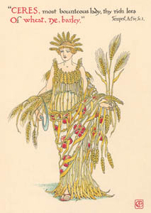 thumbnail Walter Crane – CERES, most bounteous lady, thy rich leas Of wheat, rye, barley, (The Tempest) [from Flowers from Shakespeare's Garden]