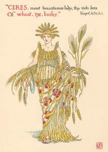 ウォルター・クレイン – 豊穣の女神ケレスの小麦、ライ麦、大麦 (テンペスト) (シェイクスピアの花園より)のサムネイル画像