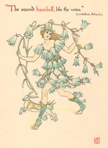 thumbnail Walter Crane – The azured harebell, like thy veins. (Cymbeline) [from Flowers from Shakespeare's Garden]