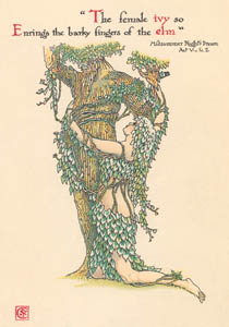 thumbnail Walter Crane – The female ivy so Enrings the barky fingers of the elm. (A Midsummer Night's Dream) [from Flowers from Shakespeare's Garden]