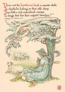thumbnail Walter Crane – Gives not the hawthorn-bush a sweeter shade To shepherds looking on their silly sheep, Than doth a rich embroider'd canopy To kings that fear their subjects' treachery? (3 Henry VI) [from Flowers from Shakespeare's Garden]