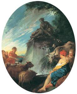 フランソワ・ブーシェ – 泉の羊飼い達 (ブーシェ・フラゴナール展より)のサムネイル画像
