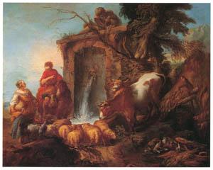 フランソワ・ブーシェ – 水飼い場 (ブーシェ・フラゴナール展より)のサムネイル画像