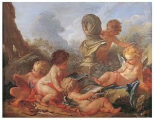 フランソワ・ブーシェ – 芸術の守護神 (ブーシェ・フラゴナール展より)のサムネイル画像