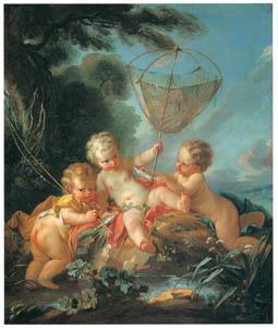 フランソワ・ブーシェ – 漁をするキューピッド達(水) (ブーシェ・フラゴナール展より)のサムネイル画像