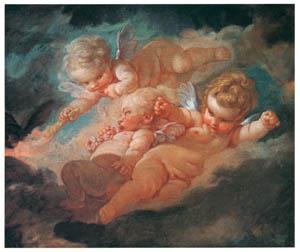 フランソワ・ブーシェ – 3人のキューピッド (ブーシェ・フラゴナール展より)のサムネイル画像