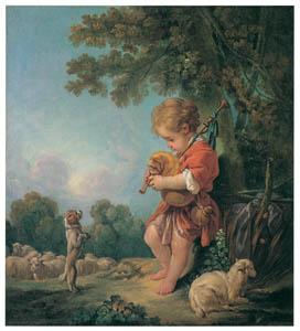 フランソワ・ブーシェ – 風笛を吹く少年 (ブーシェ・フラゴナール展より)のサムネイル画像