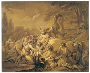フランソワ・ブーシェ – ニンフに幼児バッカスを託すメルクリウス (ブーシェ・フラゴナール展より)のサムネイル画像