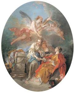 フランソワ・ブーシェ – 冠を載せられる無垢 (ブーシェ・フラゴナール展より)のサムネイル画像