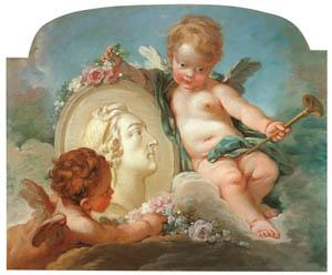 フランソワ・ブーシェ – ルイ15世の肖像円形浮彫り (ブーシェ・フラゴナール展より)のサムネイル画像