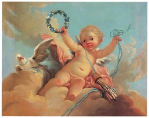 ジャン・オノレ・フラゴナール – 勝利のキューピッド (ブーシェ・フラゴナール展より)のサムネイル画像