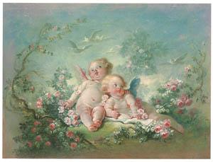ジャン・オノレ・フラゴナール – 二人のキューピッド(春) (ブーシェ・フラゴナール展より)のサムネイル画像