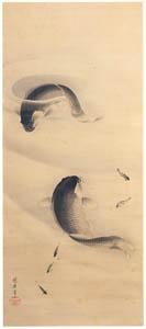 thumbnail Josiah Conder – Swimming Carp [from Kyosai: master painter and his student Josiah Coder]
