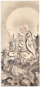 thumbnail Kawanabe Kyōsai – An Arhat with a Rosary, Seated on a Rock with a Snake Below [from Kyosai: master painter and his student Josiah Coder]