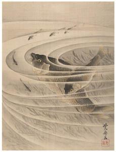 thumbnail Kawanabe Kyōsai – Fish in a Whirlpool [from Kyosai: master painter and his student Josiah Coder]