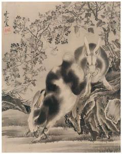 河鍋暁斎 – 蜥蜴と兎図 (画鬼・暁斎 KYOSAI 幕末明治のスター絵師と弟子コンドルより)のサムネイル画像