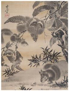 thumbnail Kawanabe Kyōsai – Squirrels Gathering Chestnuts [from Kyosai: master painter and his student Josiah Coder]