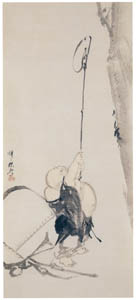 thumbnail Kawanabe Kyōsai – Hotei Catching a Cicada [from Kyosai: master painter and his student Josiah Coder]