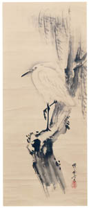 thumbnail Kawanabe Kyōsai – White Heron and Willow Tree [from Kyosai: master painter and his student Josiah Coder]