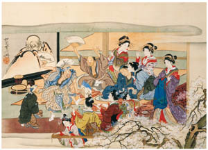 thumbnail Kawanabe Kyōsai – Party in the Yoshiwara Pleasure Quarters [from Kyosai: master painter and his student Josiah Coder]
