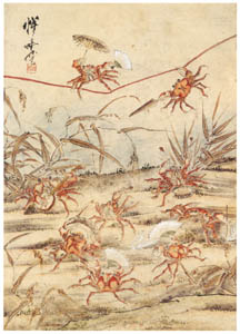 thumbnail Kawanabe Kyōsai – Crab Tightrope Performance [from Kyosai: master painter and his student Josiah Coder]