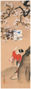 thumbnail Kawanabe Kyōsai – Benzaiten Viewing Cherry Blossoms,  from the Parody of the Seven Gods of Good Fortune series [from Kyosai: master painter and his student Josiah Coder]